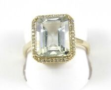 Huge Radiant Green Amethyst Lady's Ring w/Diamond Halo 14k Yellow Gold 4.46Ct