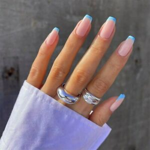 Square Fake Nails French Sky Blue Tips Full Detachable Artificial Nail Art Tips