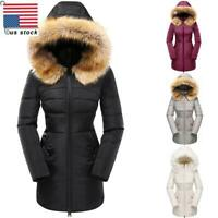 Women Winter Warm Long Parka Ladies Fur Collar Hooded Coat Quilted Thick Outwear
