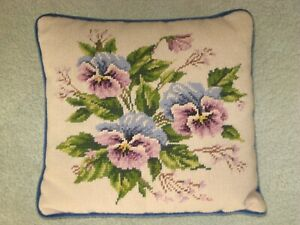 "Vintage 1970's 13"" x 13"" Blue Pansies Hand Sewn Needlepoint Decorative Pillow"