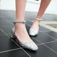 Womens Date Dress Mary Jane Sandals Glitter Sequins Ankle Strap Block Heel Shoes