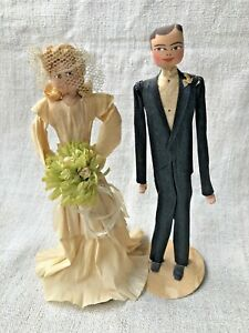 VINTAGE 1930'S BRIDE AND GROOM WEDDING CAKE TOPPERS CREPE PAPER SATIN PAINTED