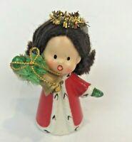 Vintage Napcoware Angel Figurine Caroling Christmas Bell Yarn Hair 9750 Japan