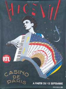 Original Vintage Affiche Razzia Higelin Signée Casino De Paris 1986 Accordéon
