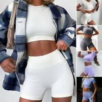 Womens Co Ord Shorts Set Suit Crop Top Short Size 6 8 10 12 Black Blue Khak New