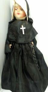 "11"" Vintage Nun Doll Standing Toy Rosary Catholic Religious Item Sleepy Eyes"