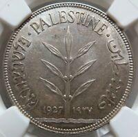 PALESTINE 100 mils 1927 NGC MS 62 UNC Israel