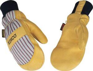 Kinco 1927KWT Mens Mitt Lined Pigskin Knit Wrist 5-finger Thermal Glove Liner