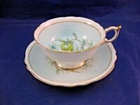 PARAGON TEA CUP & SAUCER - DOUBLE WARRANT - AQUA AND WHITE WITH FLORAL CENTER
