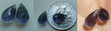 Faceted briolette Iolite beads AAA set of 2 premium quality  5x10mm drops