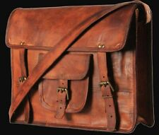 Men's Brown Limited Edition vintage retro style leather messenger bag 15 inches