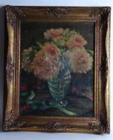 Öl Gemälde Wilhelm Hempfing (1886-1948) museales Blumen Stillleben Pfingstrosen