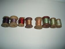 8 ANTIQUE Victorian Bobbin sewing reels, original SILK THREAD.Sublime colours