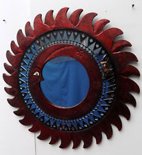 Espejo sol luna rojo antiguo diámetro cm 60 con mosaico de vidrio sol/luna