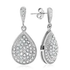 DIAMOND AND WHITE SWAROVSKI ELEMENTS STERLING SILVER EARRINGS