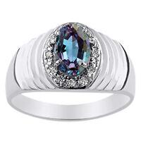 Alexandrite & Diamond Ring 14K White Gold