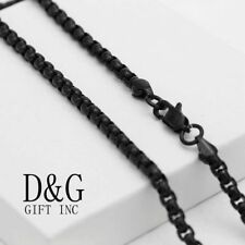 "NEW DG Gift Inc Men's Stainless Steel Black 24"" 3mm Round Chain Necklace + Box"