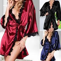 Women Sexy Nightdress Satin Lace Kimono Sleepwear Lingerie Dress Gown Robe