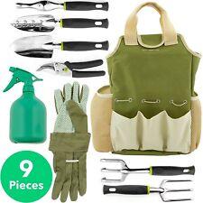 Essential Garden Tools Set 9 Piece Tool Organizer Bag Comfort Grip Rubber Handle