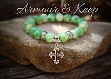"""ANIKA"" Rain Flower Green Colour Cross Charm Bracelet Handmade"