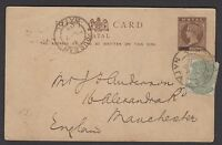 "South Africa-Natal 1894 QVic 1½d postal card revalued to ½d ""PENNY"" blacked out"