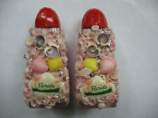 Vintage Salt & Pepper Shakers Florida Pink Flamingo Seashell Glitter Glass Red