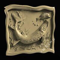 3D STL Model PIKE & FISH for CNC Router Aspire Artcam 3D Printer Engraver Cut 3D
