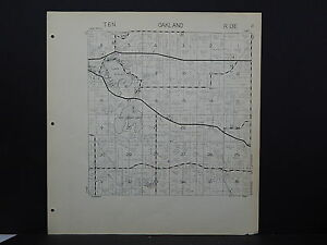 Wisconsin Jefferson County Map 1941 Oakland Township Lake Ripley Y16#33
