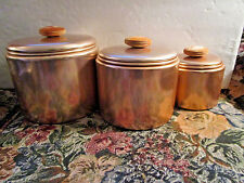Vintage Mid Century MIRRO 3 Pc Kitchen Canister Set Copper Aluminum Wood Knobs