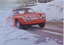 PORSCHE 911t Monte Carlo Rally MOTOR RACING AUTO CLASSICA VUOTO cartolina di Compleanno