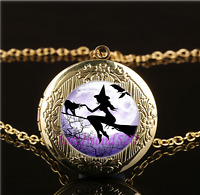 Witch In Moon Fly Cabochon Glass Gold Plating Locket Pendant Necklace