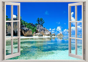 Nature Beach Mountains Water Trees 3D Effect Window Sticker Wall Poster Viny 353
