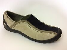 Privo Clarks Womens 7 M Leather Slip On Sneakers Shoes Beige Black Flats Loafers
