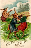 Easter Fantasy~Dressed Rabbits Dance in Meadow~Bunny Plays Fiddle~Gold Leaf Emb