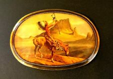 GREAT Vintage Native American Indian Belt Buckle Horse Canyon 1976 Pacifica CA