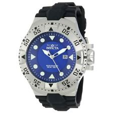 Mens Invicta 14435 Excursion Sport Blue Dial Silver Color Case Black Rubber Stra