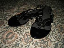 Tahari Black Patent Flat Thong Sandal W/ Buckle and Embellishment. 7.5