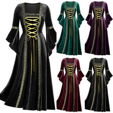 Women Victorian Renaissance Medieval Fancy Dress Halloween Gothic Witch Costume