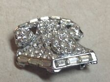 "Vintage Rotary Telephone Phone Brooch pin Silver Tone Rhinestone 1 1/4"" by 1"""
