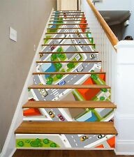 3D Cartoon City Stair Risers Decoration Photo Mural Vinyl Decal Wallpaper UK
