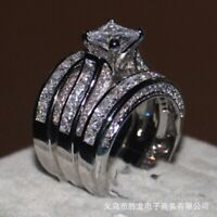 Luxury 925 Silver Filled Wedding Rings for Women White Sapphire Ring Size 5-11