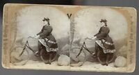 Pretty Girl Posing on Bicycle 1890s Photo Stereoview