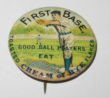 1896 PD1 Baseball Player 1B Position Cream of Rye Flakes Advertising Pin Button