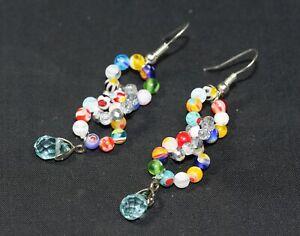 Venetian Flower Bead & Swarovski Crystal Seed Bead Dangle 925 Silver Earrings