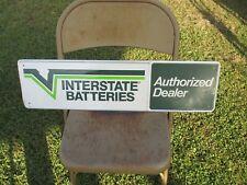 "Vintage Interstate Battery Authorized Dealer  Metal Sign Embossed  30"" x 8"""