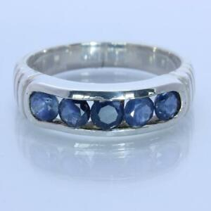 Natural Blue Sapphire Handmade Sterling Silver Unisex Channel Set Ring size 8.75