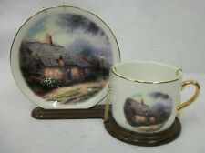 Vintage Thomas Kinkade - Moonlight Cottage - Cup & Saucer with Display Stand