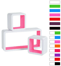 Wall Shelves Floating Wall Mounted Shelf MDF Set of 3 Cube Pink/White URG9229rs