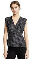 BNWT Theory Kimono Pleat Black Check Top Size S RRP £215