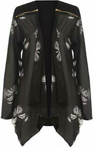 Womens Plus Size Floral Zip Chiffon Butterfly Print Sheer Long Sleeve Cardigan